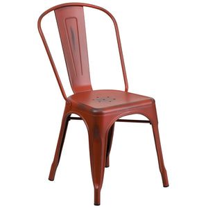 Distressed Kelly Red Metal Indoor-Outdoor Stackable Chair