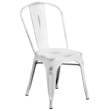 Distressed White Metal Indoor-Outdoor Stackable Chair