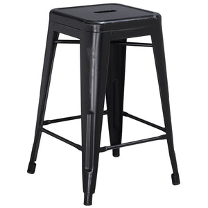 24'' High Backless Distressed Black Metal Indoor-Outdoor Counter Height Stool