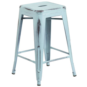 24'' High Backless Distressed Green-Blue Metal Indoor-Outdoor Counter Height Stool