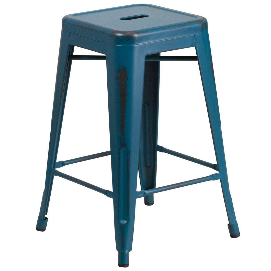 24'' High Backless Distressed Kelly Blue-Teal Metal Indoor-Outdoor Counter Height Stool