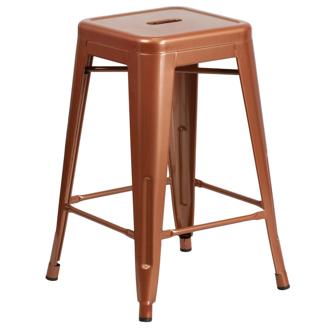 24'' High Backless Copper Indoor-Outdoor Counter Height Stool