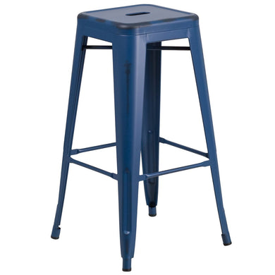 30'' High Backless Distressed Antique Blue Metal Indoor-Outdoor Barstool