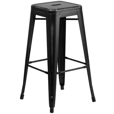 30'' High Backless Distressed Black Metal Indoor-Outdoor Barstool