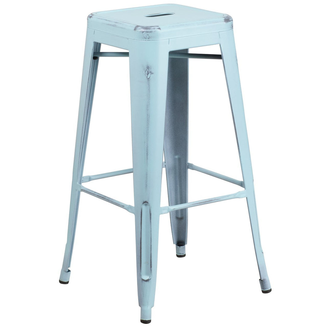 30'' High Backless Distressed Green-Blue Metal Indoor-Outdoor Barstool