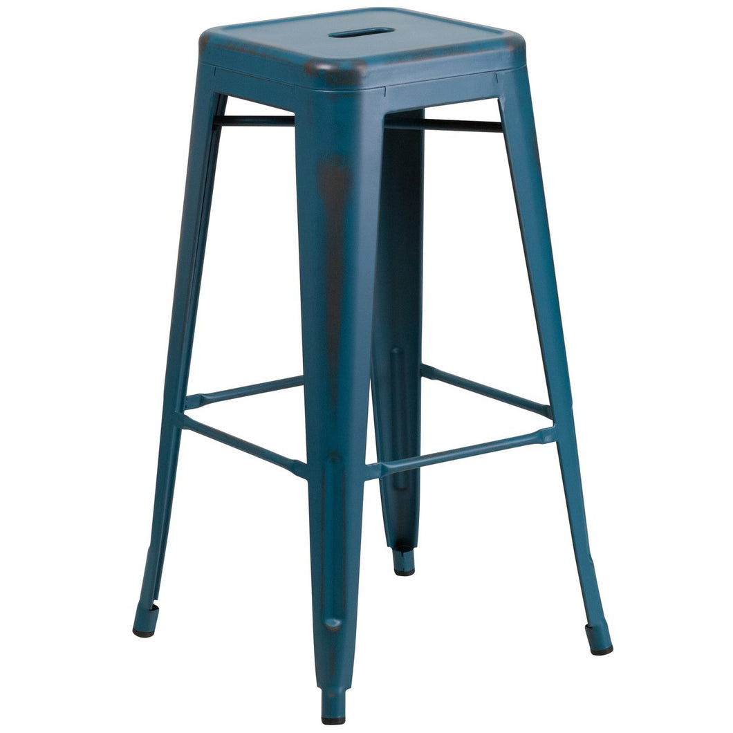 30'' High Backless Distressed Kelly Blue-Teal Metal Indoor-Outdoor Barstool