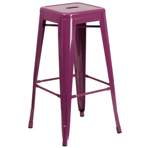 30'' High Backless Purple Indoor-Outdoor Barstool