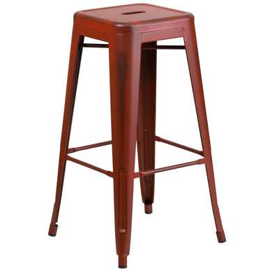 30'' High Backless Distressed Kelly Red Metal Indoor-Outdoor Barstool