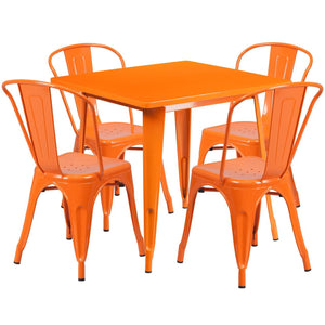 31.5'' Square Orange Metal Indoor-Outdoor Table Set with 4 Stack Chairs