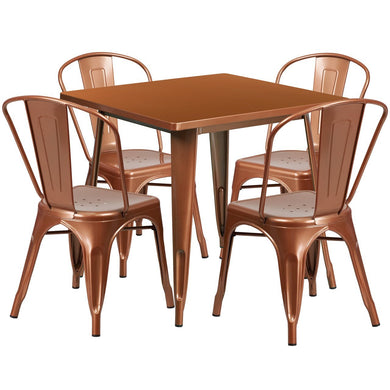 31.5'' Square Copper Metal Indoor-Outdoor Table Set with 4 Stack Chairs