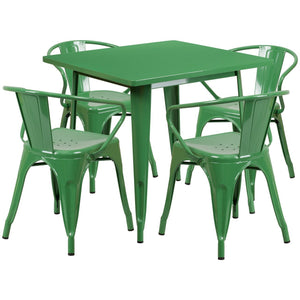 31.5'' Square Green Metal Indoor-Outdoor Table Set with 4 Arm Chairs