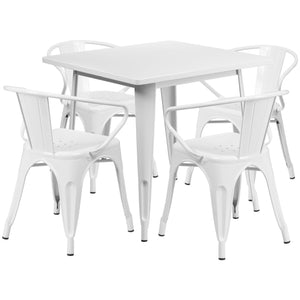 31.5'' Square White Metal Indoor-Outdoor Table Set with 4 Arm Chairs