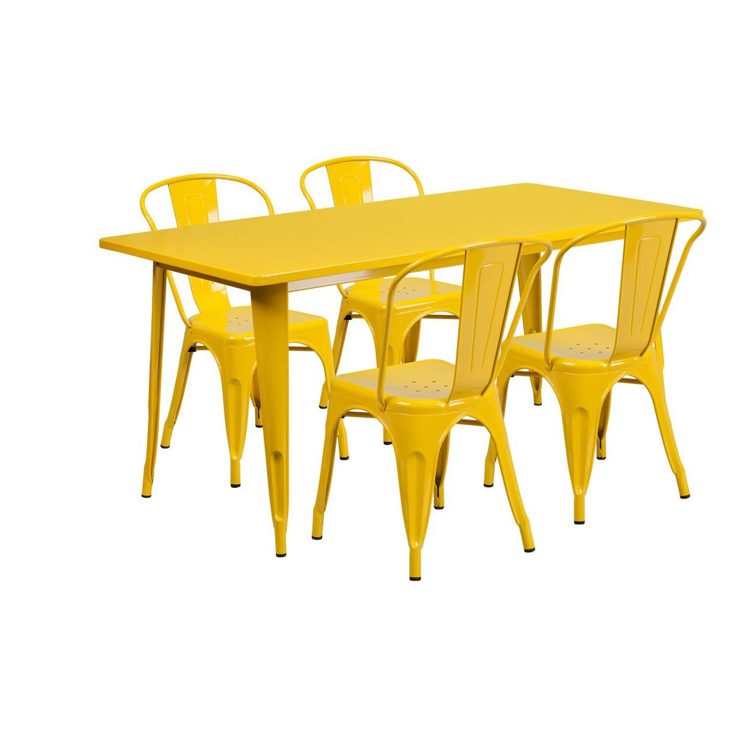 31.5'' x 63'' Rectangular Yellow Metal Indoor-Outdoor Table Set with 4 Stack Chairs