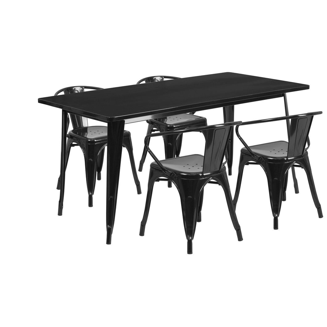31.5'' x 63'' Rectangular Black Metal Indoor-Outdoor Table Set with 4 Arm Chairs