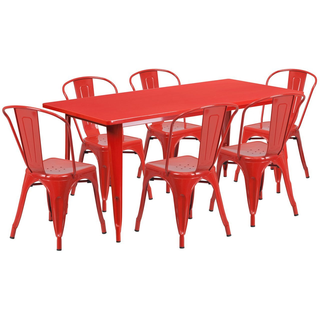 31.5'' x 63'' Rectangular Red Metal Indoor-Outdoor Table Set with 6 Stack Chairs