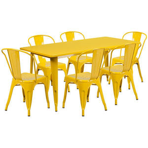 31.5'' x 63'' Rectangular Yellow Metal Indoor-Outdoor Table Set with 6 Stack Chairs
