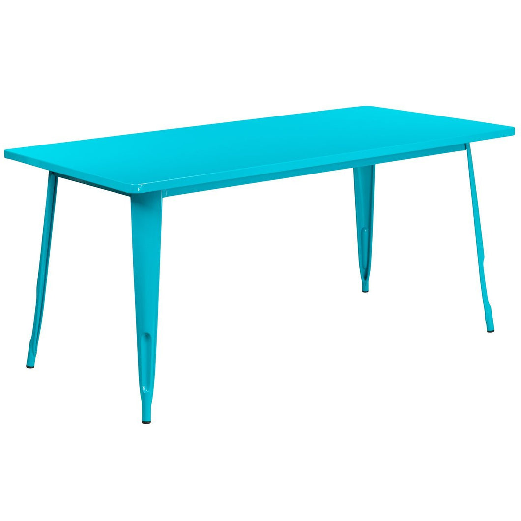 31.5'' x 63'' Rectangular Crystal Teal-Blue Metal Indoor-Outdoor Table