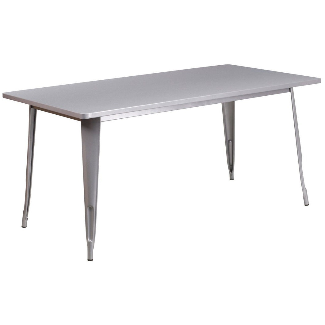 31.5'' x 63'' Rectangular Silver Metal Indoor-Outdoor Table