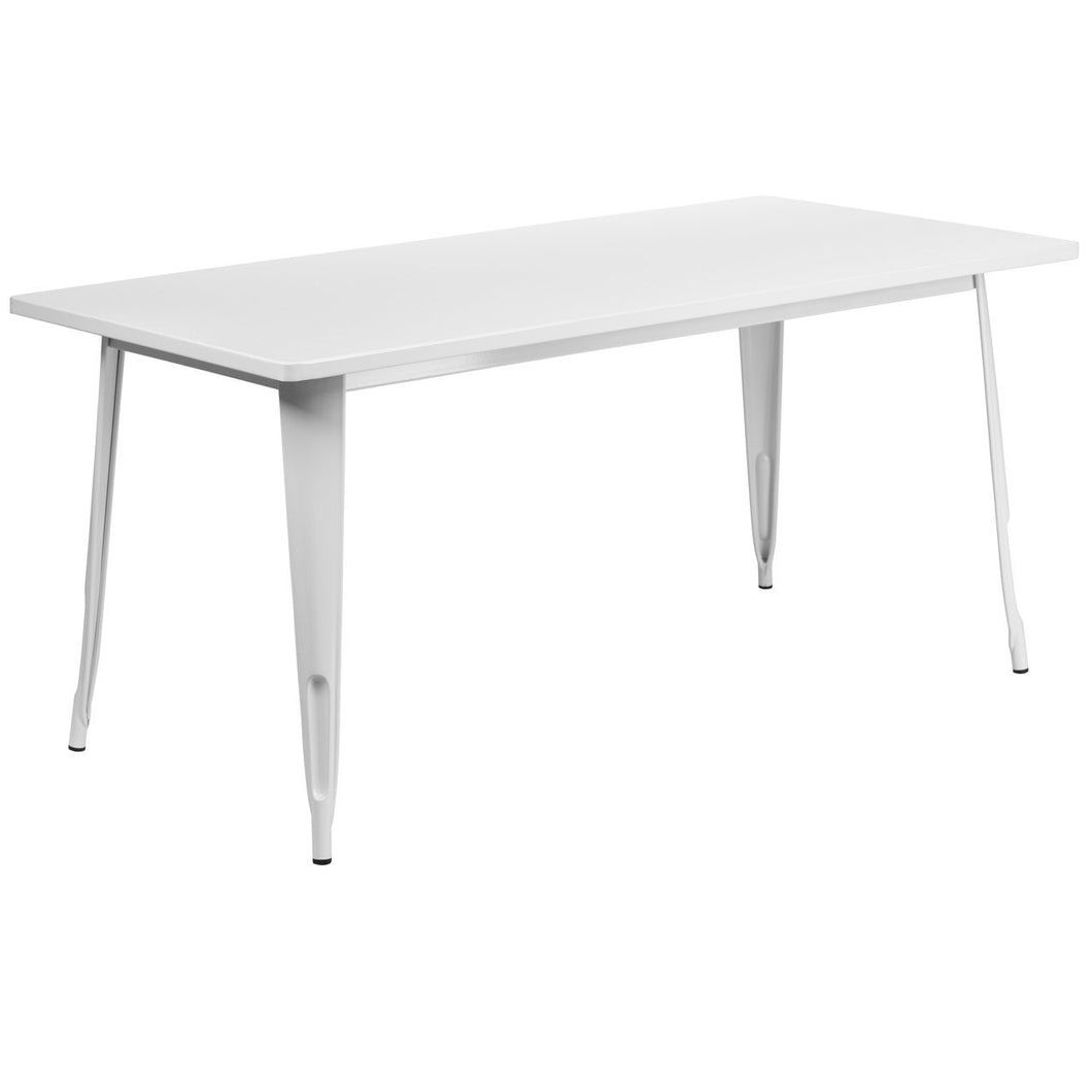 31.5'' x 63'' Rectangular White Metal Indoor-Outdoor Table