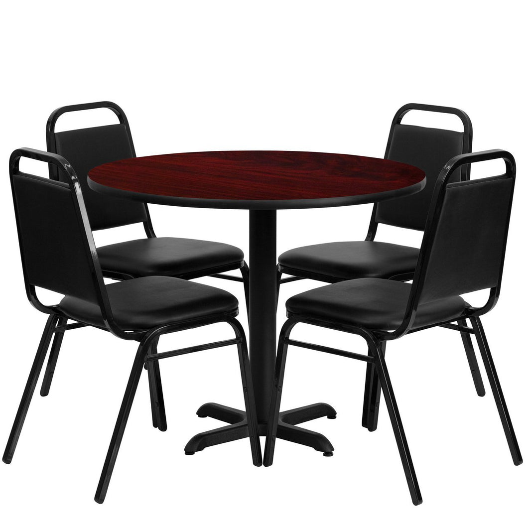 36'' Round Mahogany Laminate Table Set with 4 Black Trapezoidal Back Banquet Chairs