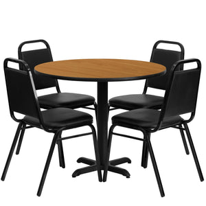 36'' Round Natural Laminate Table Set with 4 Black Trapezoidal Back Banquet Chairs