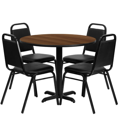 36'' Round Walnut Laminate Table Set with 4 Black Trapezoidal Back Banquet Chairs