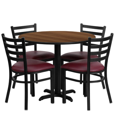 36'' Round Walnut Laminate Table Set with 4 Ladder Back Metal Chairs - Burgundy Vinyl Seat