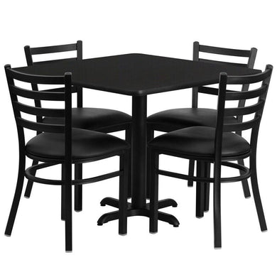 36'' Square Black Laminate Table Set with X-Base and 4 Ladder Back Metal Chairs - Black Vinyl Seat