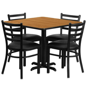 36'' Square Natural Laminate Table Set with X-Base and 4 Ladder Back Metal Chairs - Black Vinyl Seat