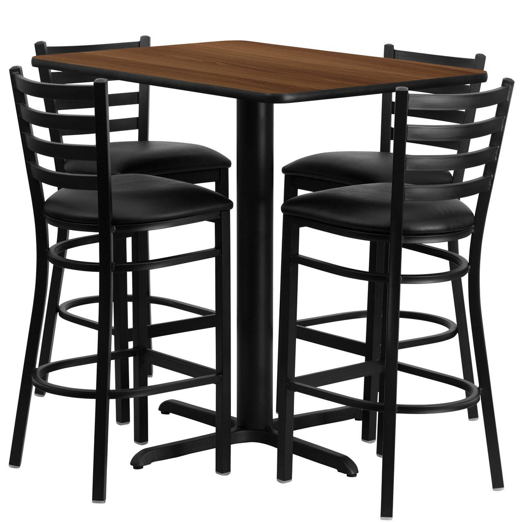 24''W x 42''L Rectangular Walnut Laminate Table Set with 4 Ladder Back Metal Barstools - Black Vinyl Seat