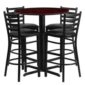30'' Round Mahogany Laminate Table Set with 4 Ladder Back Metal Barstools - Black Vinyl Seat