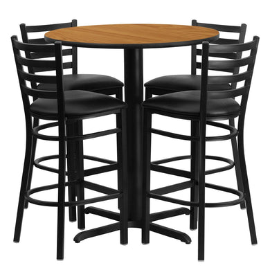 30'' Round Natural Laminate Table Set with 4 Ladder Back Metal Barstools - Black Vinyl Seat