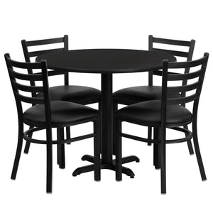 36'' Round Black Laminate Table Set with 4 Ladder Back Metal Chairs - Black Vinyl Seat