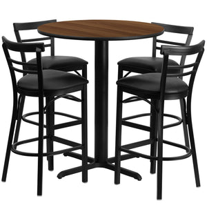 24'' Round Walnut Laminate Table Set with 4 Ladder Back Metal Barstools - Black Vinyl Seat