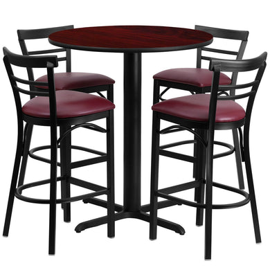 24'' Round Mahogany Laminate Table Set with 4 Ladder Back Metal Barstools - Burgundy Vinyl Seat