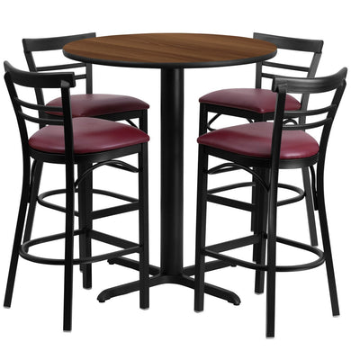 24'' Round Walnut Laminate Table Set with 4 Ladder Back Metal Barstools - Burgundy Vinyl Seat
