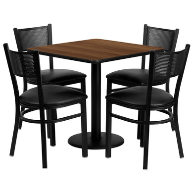 30'' Square Walnut Laminate Table Set with 4 Grid Back Metal Chairs - Black Vinyl Seat