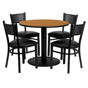 36'' Round Natural Laminate Table Set with 4 Grid Back Metal Chairs - Black Vinyl Seat