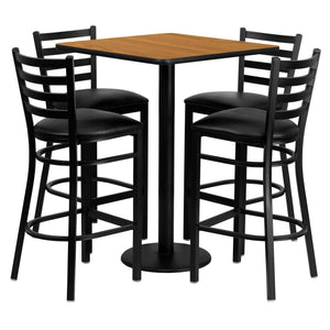 30'' Square Natural Laminate Table Set with 4 Ladder Back Metal Barstools - Black Vinyl Seat