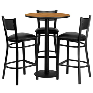 30'' Round Natural Laminate Table Set with 3 Grid Back Metal Barstools - Black Vinyl Seat