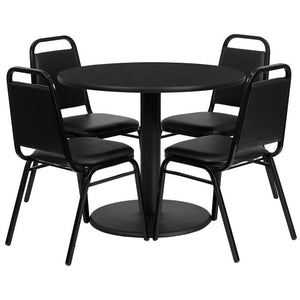 36'' Round Black Laminate Table Set with Round Base and 4 Black Trapezoidal Back Banquet Chairs