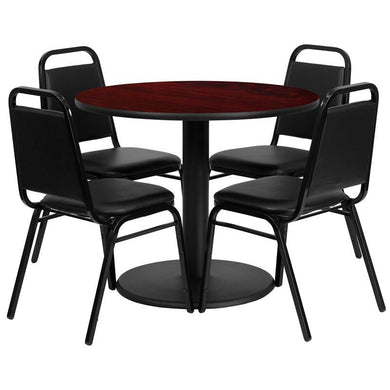 36'' Round Mahogany Laminate Table Set with Round Base and 4 Black Trapezoidal Back Banquet Chairs