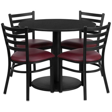 36'' Round Black Laminate Table Set with Round Base and 4 Ladder Back Metal Chairs - Burgundy Vinyl Seat