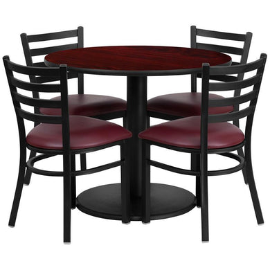 36'' Round Mahogany Laminate Table Set with Round Base and 4 Ladder Back Metal Chairs - Burgundy Vinyl Seat