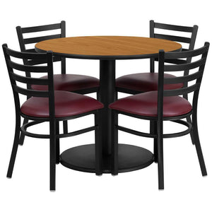 36'' Round Natural Laminate Table Set with Round Base and 4 Ladder Back Metal Chairs - Burgundy Vinyl Seat