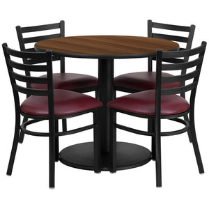 36'' Round Walnut Laminate Table Set with Round Base and 4 Ladder Back Metal Chairs - Burgundy Vinyl Seat