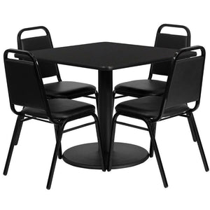 36'' Square Black Laminate Table Set with Round Base and 4 Black Trapezoidal Back Banquet Chairs