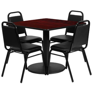 36'' Square Mahogany Laminate Table Set with Round Base and 4 Black Trapezoidal Back Banquet Chairs