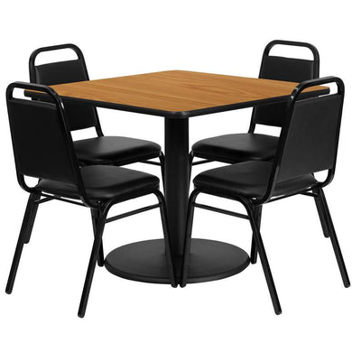 36'' Square Natural Laminate Table Set with Round Base and 4 Black Trapezoidal Back Banquet Chairs