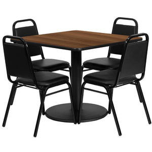 36'' Square Walnut Laminate Table Set with Round Base and 4 Black Trapezoidal Back Banquet Chairs